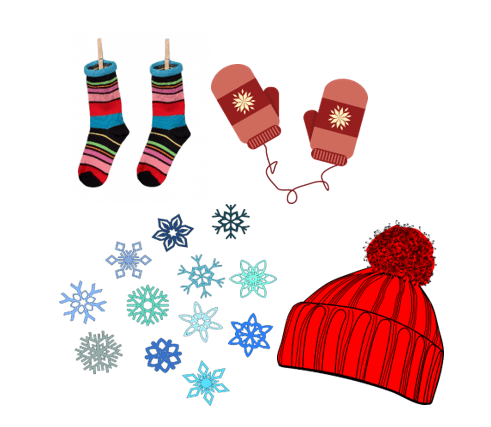 snowflakes, mittens, socks, and a hat