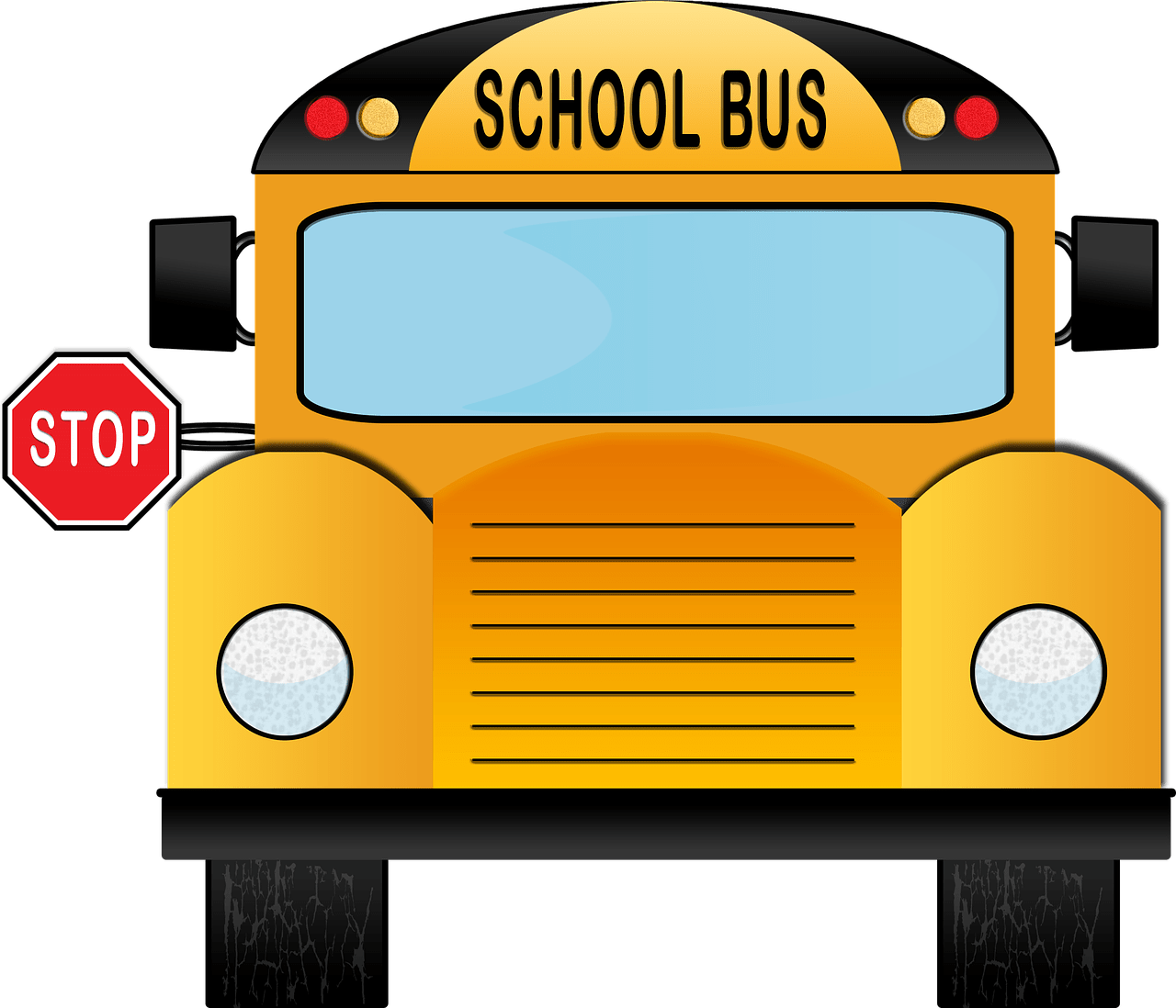 yellow school bus with stop sign displayed