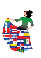 lady dancing with a skirt made up of flags of several countries