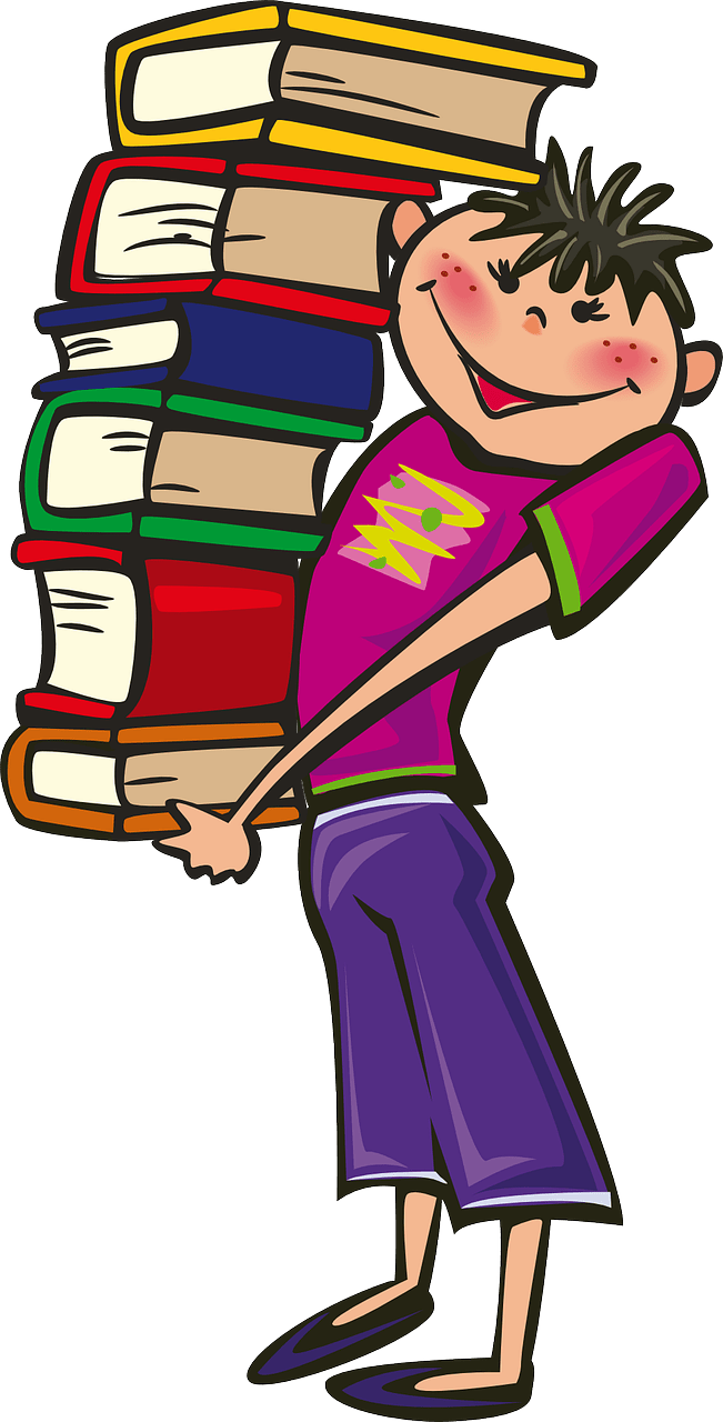 student holding a stack of library books
