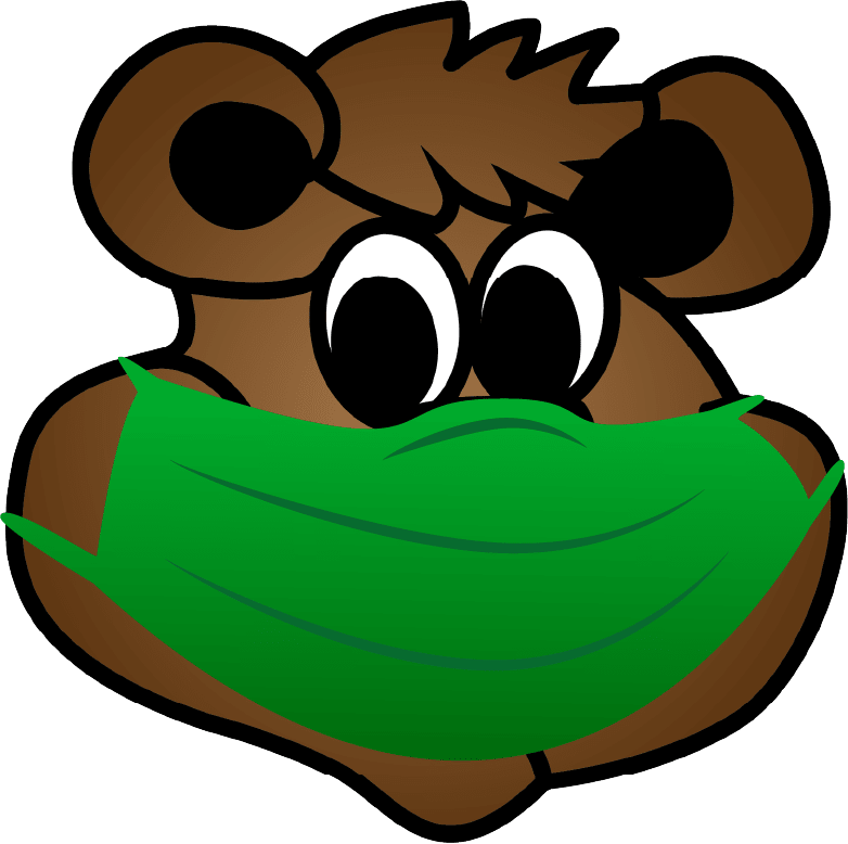 Cole Cub graphic wearing a green mask