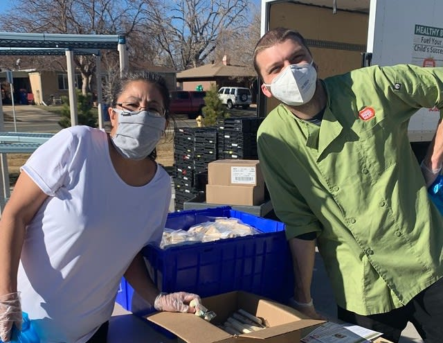 Food staff at distribution