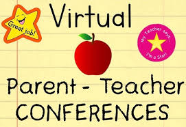 Virtual Parent-Teacher Conferences written in black letters with yellow lined paper as a background. A gold star appears on the top left. An apply in the middle and a circle with a gold star in the middle appears on the right.