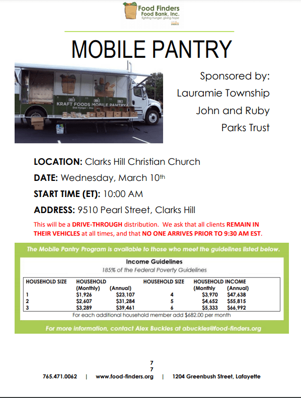 Mobile Food Pantry: March 10 10:00 a.m. 9510 Pearl Street; Clarks Hill.