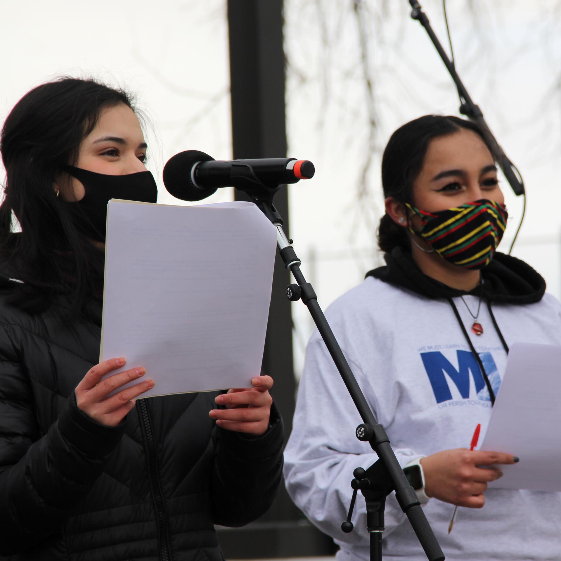 students giving speech at MLK event