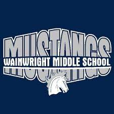 Blue background with Mustangs written in white with Wainwright Middle School written across it. A white Mustang logo centered in the middle