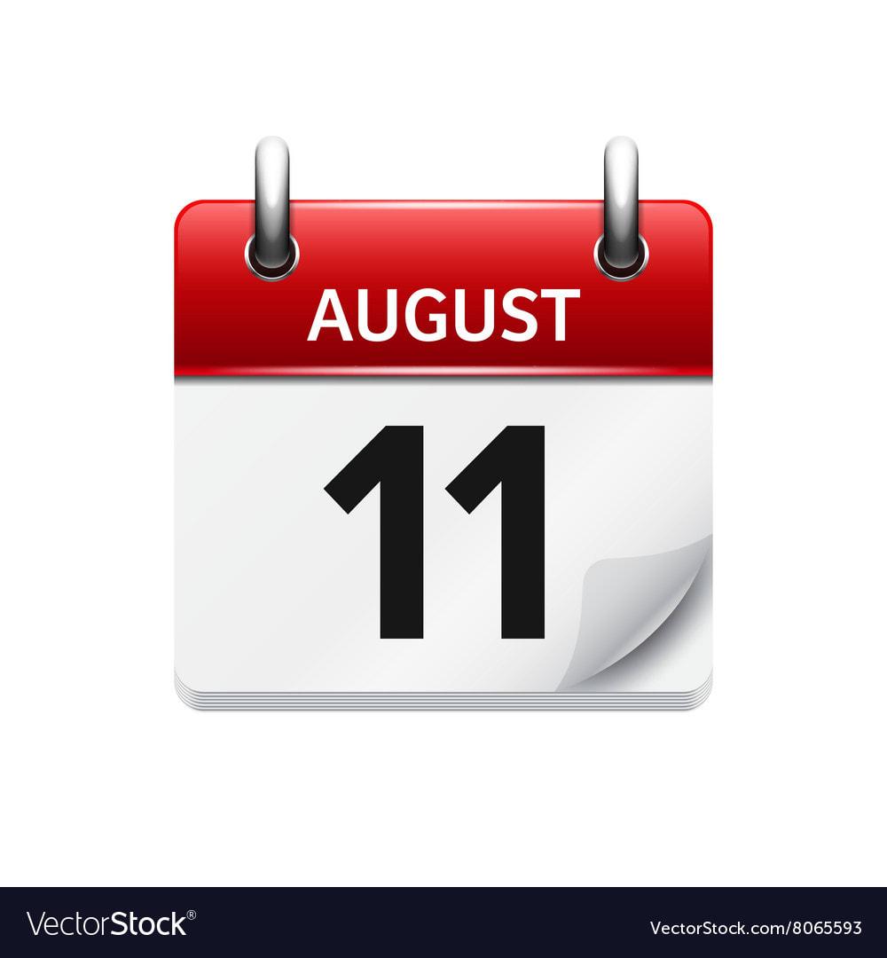 Desk Calendar with August 11 as a tear off