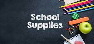 Graphic that shows a variety of school supplies with the wording ''School Supplies'' in white
