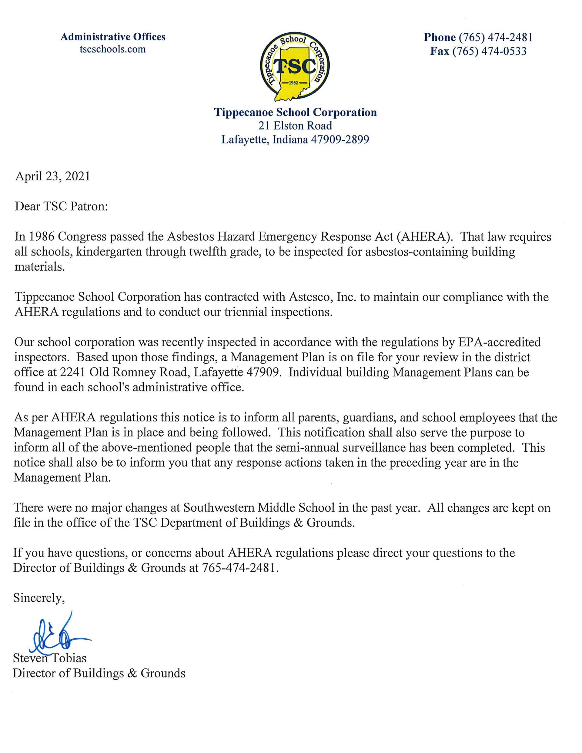 4-23-21 Asbestos Letter from Steve Tobias