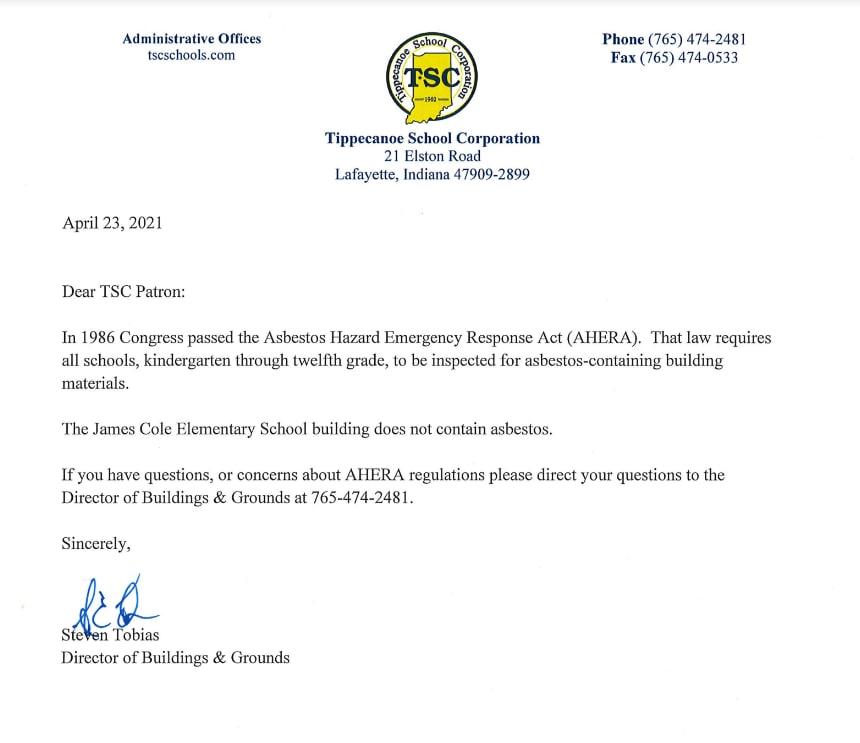 Asbestos letter - no asbestos at this school