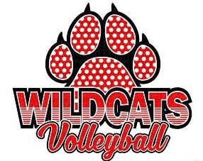 red/white polka dot paw print and Wildcats Volleyball