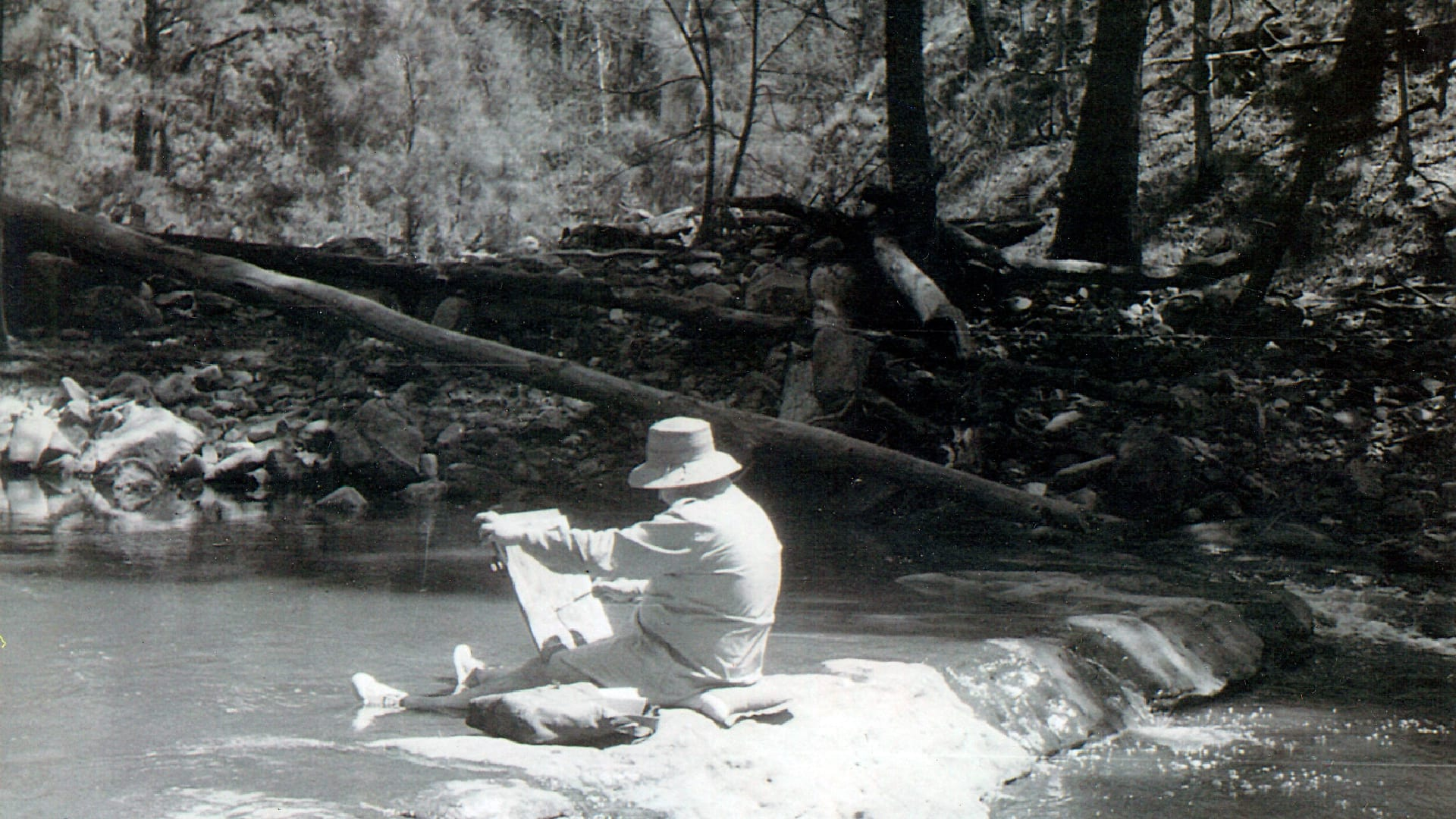 Fred Williams down at the Nattai River at The Crags, photo courtesy of the late John and Joan Stephens