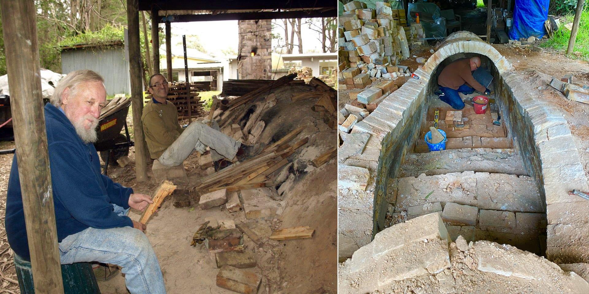 Anagama kiln being rebuilt, also pictured, Owen Rye (left)