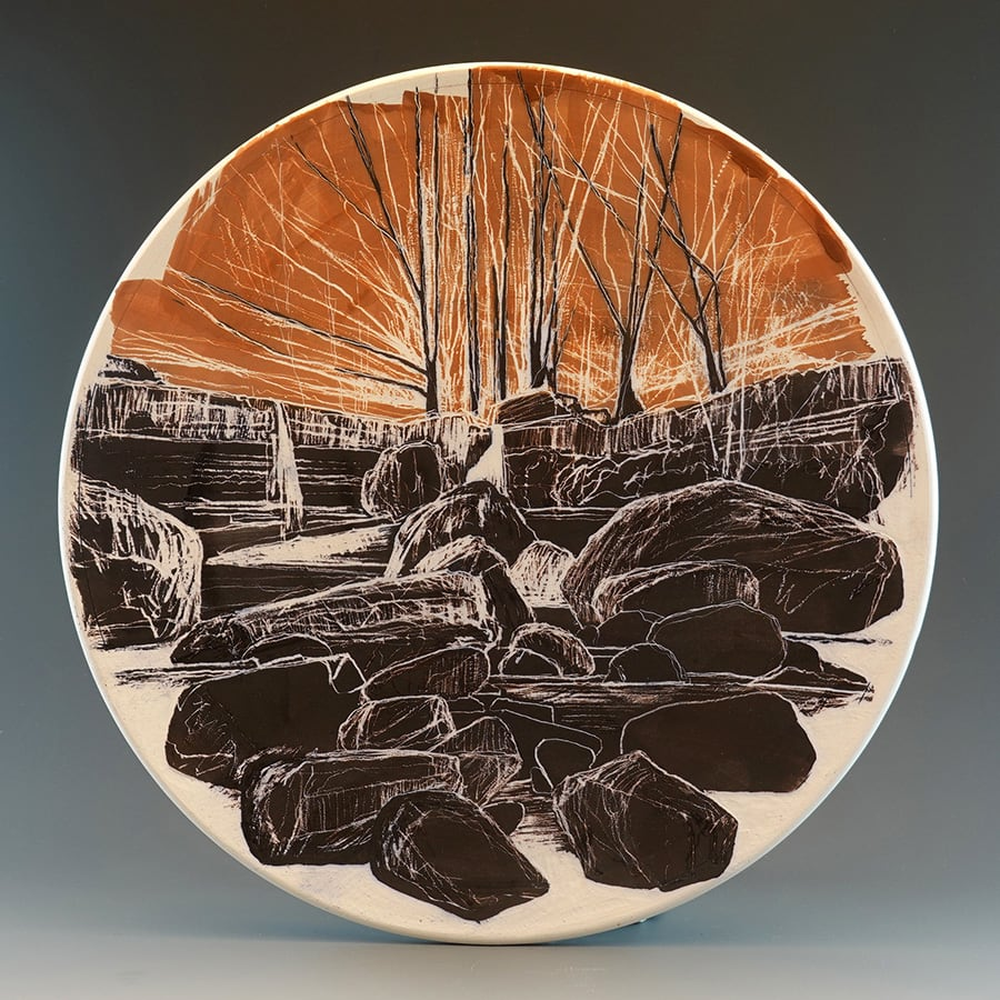 Landscape with Rock (2021) - sgraffito through oxides on mid-fire white clay