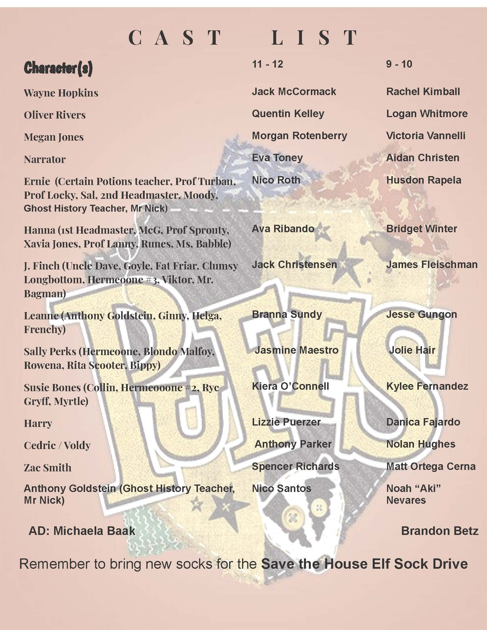 PUFFS Cast List