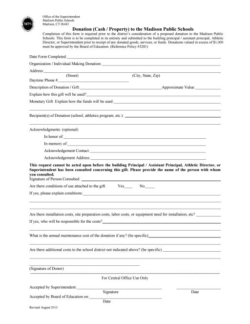 Donation Form  Madison Public Schools