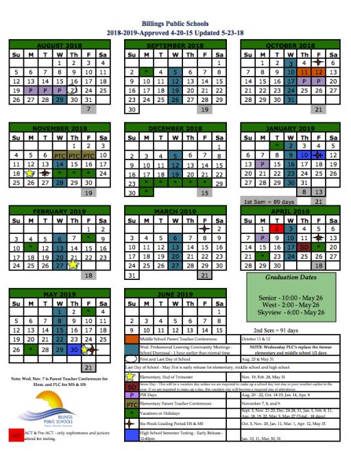 2018 2019 school year calendar