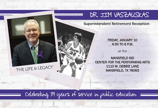 Retirement Invitation for Dr. Jim Vaszauskas