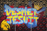 graffiti art with De Smet Jesuit in blues and gold gradients on vibrant background